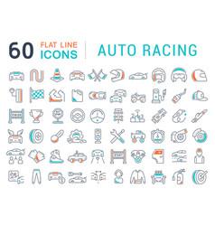 set line icons auto racing vector image