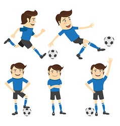 Set of Funny soccer football player wearing blue vector