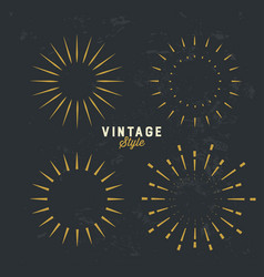 Set vintage gold sunburst firework sparks vector