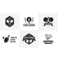 set vintage table tennis logos and badges vector image