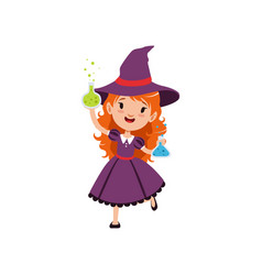 Small red-haired girl witch standing with glass vector