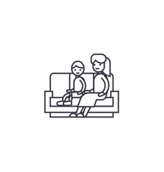 Son and mom on the sofa line icon sign vector