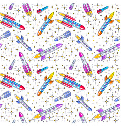 space seamless background with rockets and stars vector image