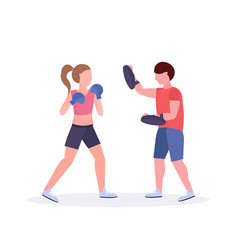 sportswoman boxer exercising thai boxing with male vector image