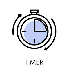 stopwatch or timer clock isolated outline icon vector image