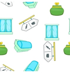Supermarket elements pattern cartoon style vector