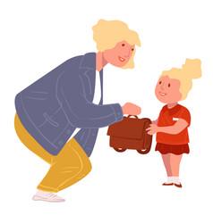 teacher talking to kid pupil taking schoolbag vector image