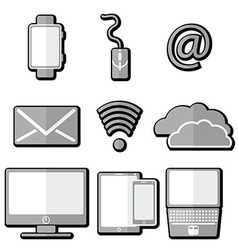 Technology icons 1 with shadow element vector image