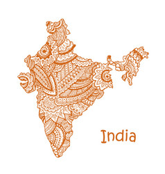 Textured map of india hand drawn ethno vector