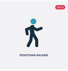 Two color pedestrian walking icon from sports vector