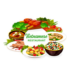 Vietnamese vegetable rice meat fish dishes icon vector