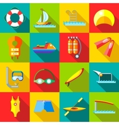 Water sports icons set in flat style vector