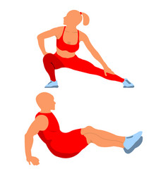 woman and man fit pose logo and icon sport vector image
