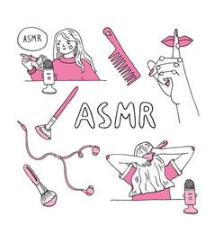 Woman recording asmr sounds vector