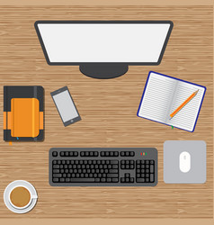 Workspace wooden table vector
