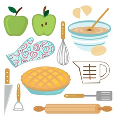 apple pie preparation vector image vector image