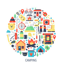 camping flat infographics icons in circle - color vector image vector image