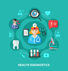 health diagnostics flat round design vector image vector image