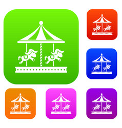 merry go round horse ride set collection vector image vector image