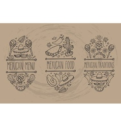 Mexican Food Sign Set vector image vector image