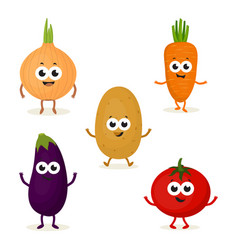 set with cute vegetables vector image vector image