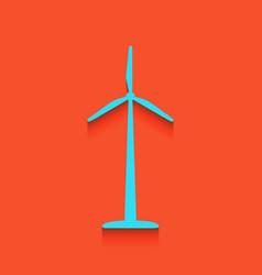 wind turbine logo or sign whitish icon on vector image