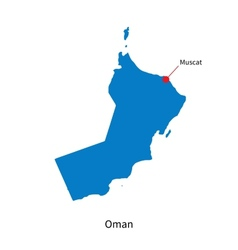 Detailed map of Oman and capital city Muscat vector image vector image