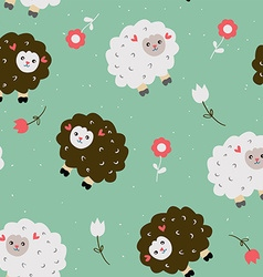 Funny seamless pattern with sheeps and flowers vector image