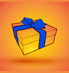 gift box present with blue bow anrd ibbon eps10 vector image