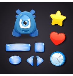 Interface icons for game design with blue monster vector image vector image