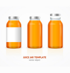 realistic juice glass jar bottle template set vector image vector image