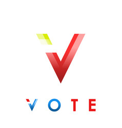 v letter icon voting concept vector image vector image