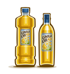 2 yellow bottles with canola oil vector image vector image