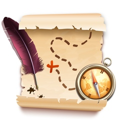 old map with a compass vector image