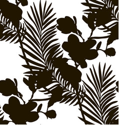black shape seamless pattern with drawn flowers vector image vector image