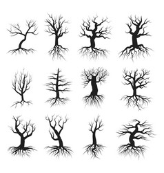 dead tree flat style set vector image