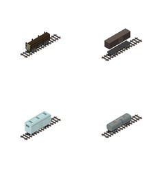 Isometric wagon set of lumber shipping delivery vector