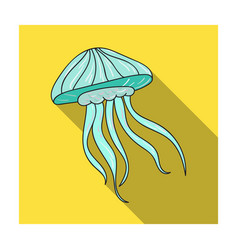 jelly fish icon in flat style isolated on white vector image vector image