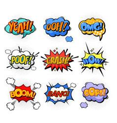oh and splash boom and bang comic bubles vector image