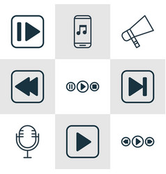 set of 9 music icons includes start song vector image vector image