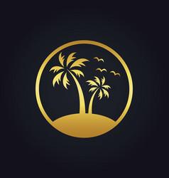 Sunset palm tree beach tropic gold logo vector