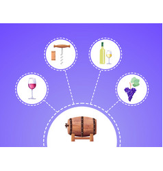 winemaking process on blue vector image