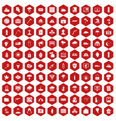 100 natural disasters icons hexagon red vector