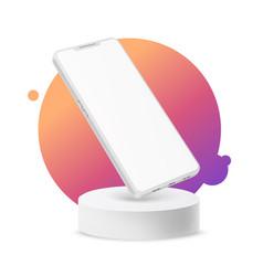 3d frameless smartphone mock on podium vector