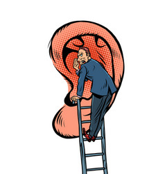 a man tells secret stands on stairs near vector image