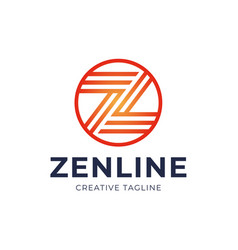 abstract letter z logo design template line vector image