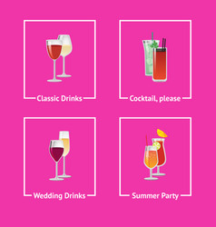 Alcohol drinks and cocktails for wedding and party vector