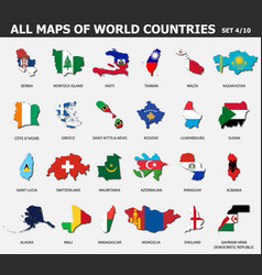 All maps world countries and flags set 4 vector