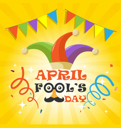 april fools day with funny glasses nose mustache vector image