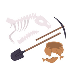Archaeological excavation tools and prehistoric vector